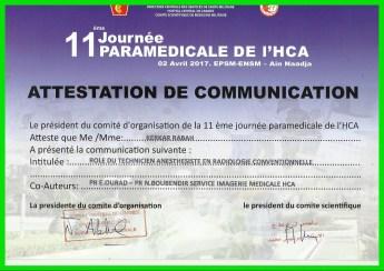 11 eme journée paramédicale de l'HCA orale du 2 avril 2017