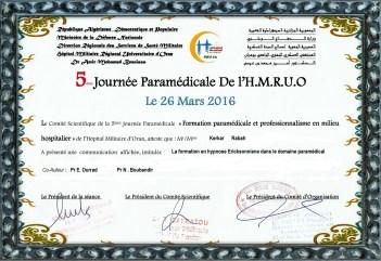 5 eme jounée paramédicale de l'HMRUO de ORAN