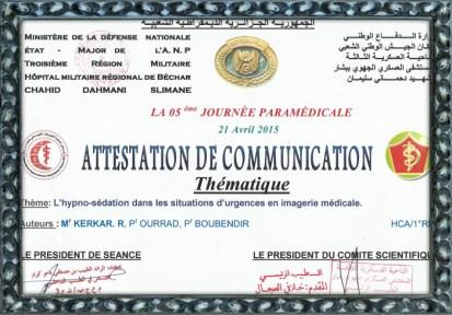 5eme jornée paramédicale de l'HMRUB de BECHAR