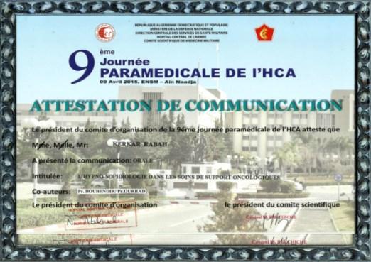 9eme jornée paramédicale de l'HCA ALGER du 9 avril 2015