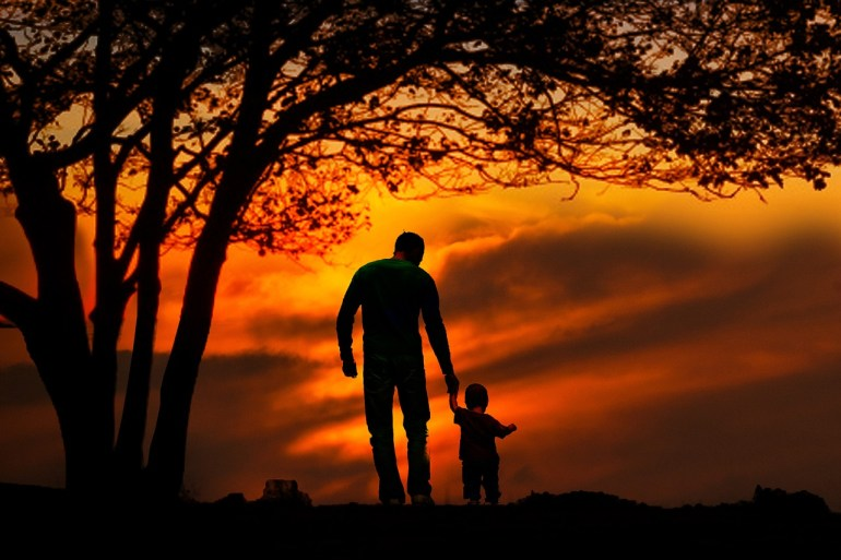 Family Together Child Two Parent Father Sunset