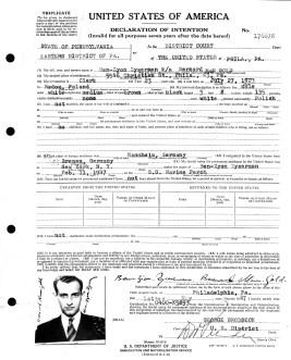 Naturalization application, May 1947, Philadelphia (note his names)