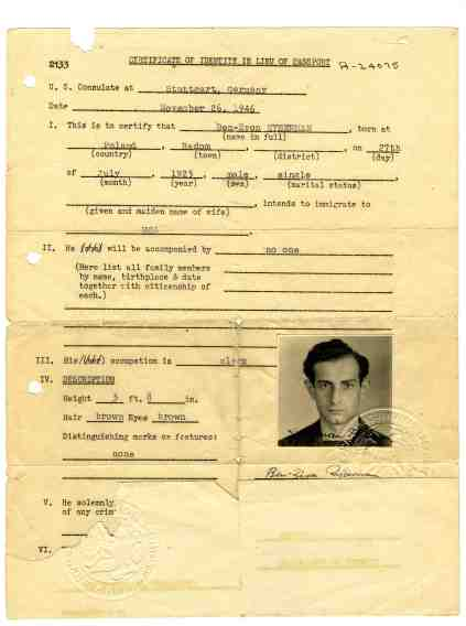 U.S. naturalization application, 1947