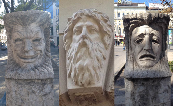 Face sculptures in Budapest
