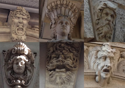 sculptures of faces in budapest