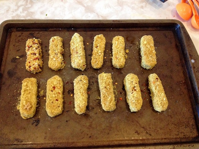 Cheesy breaded tempeh all ready to be popped into the oven!