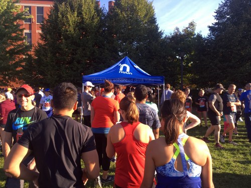LONG lines pre-race to get a cup of Nuun. I've never seen a wait like this before a race.