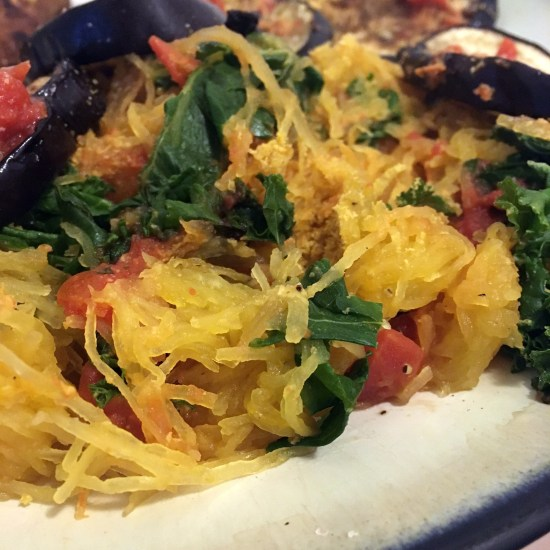 Top your spaghetti squash pasta with marinara sauce and roasted eggplant