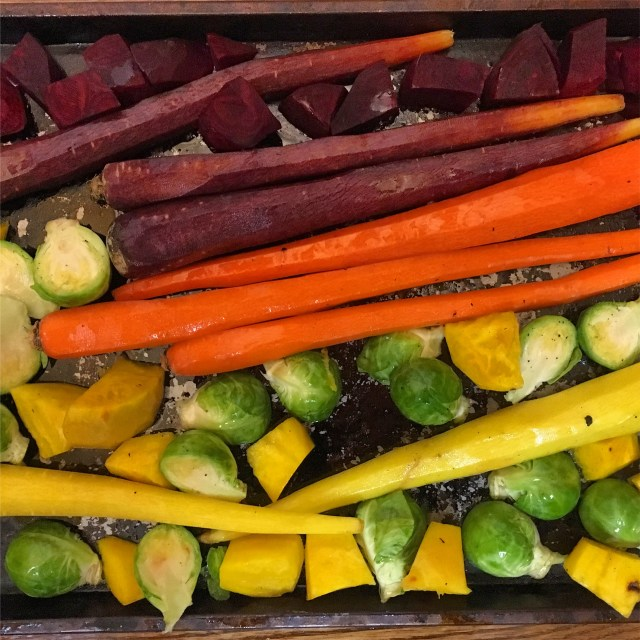 roasted vegetables with maple tahini dressing sheet pan