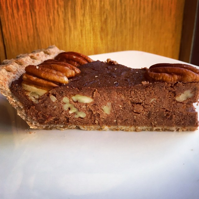 vegan chocolate pecan pie side view