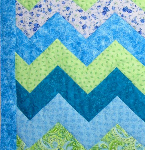 blue and green zigzag baby quilt - fabrics