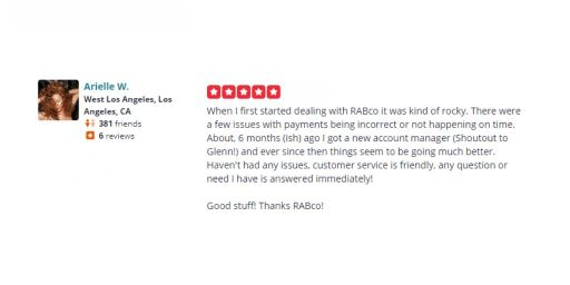 Arielle W Rabco Yelp Review