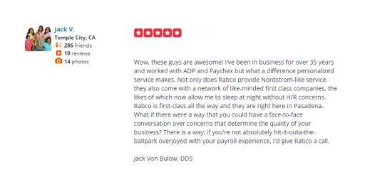 Jack V Rabco Yelp Review