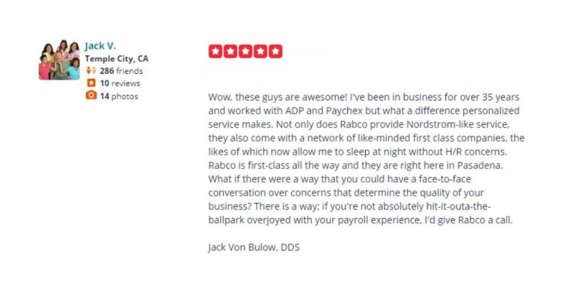 Jack V Rabco Yelp Review