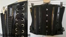 Deadlygirlz PVC and Black pinstripe underbust corset.