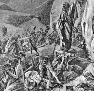 Foster_Bible_Pictures_0066-1_Moses_Has_Struck_the_Rock_with_His_Rod_and_Water_Is_Coming_Out