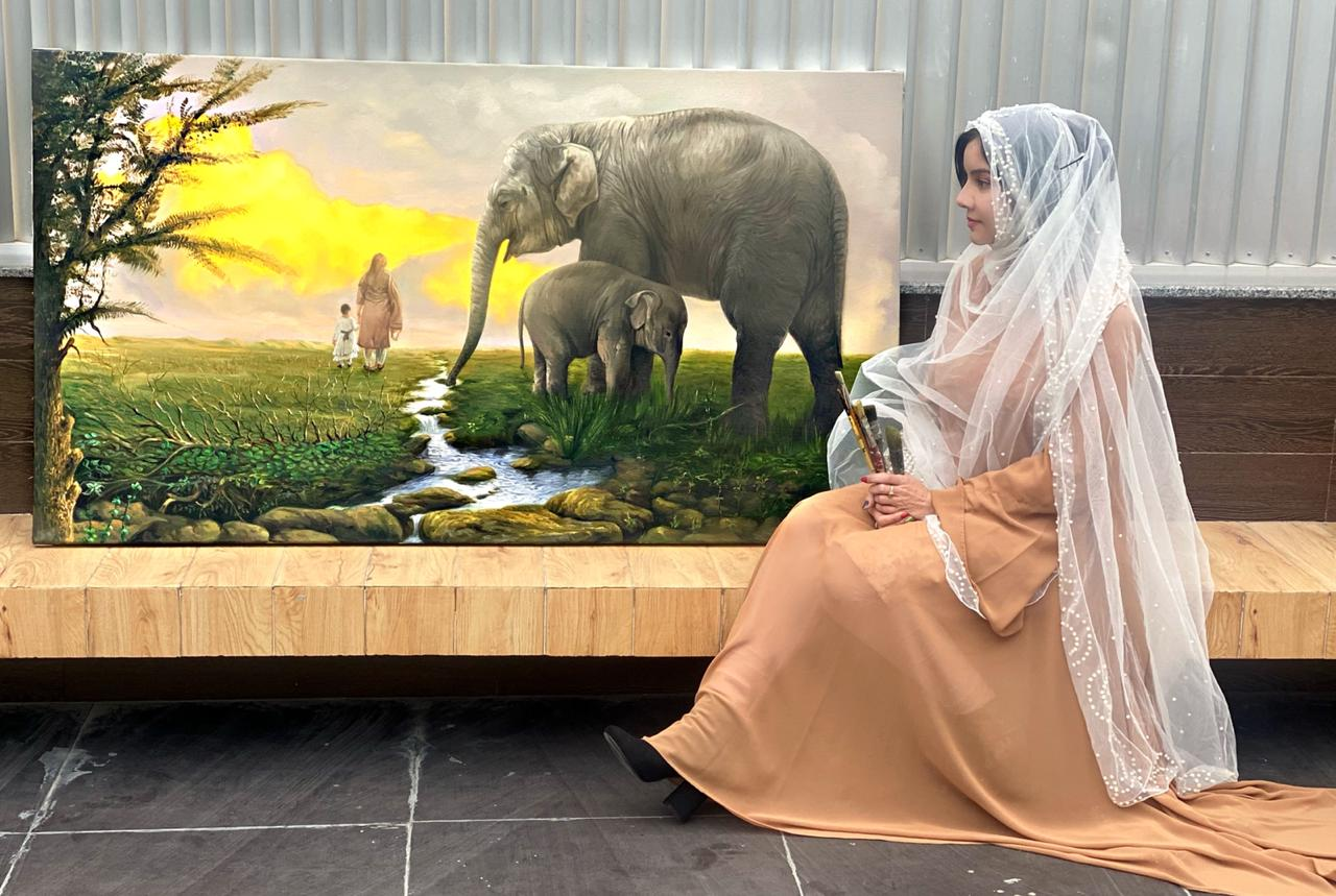 Elephant Mom and Baby Elephant (Oil Painting)_60x48