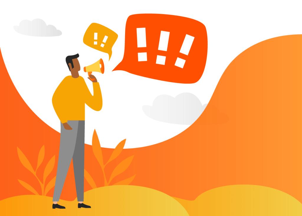 Imagem representando um homem utilizando uma ferramenta para chamar atenção e comunicar algo.