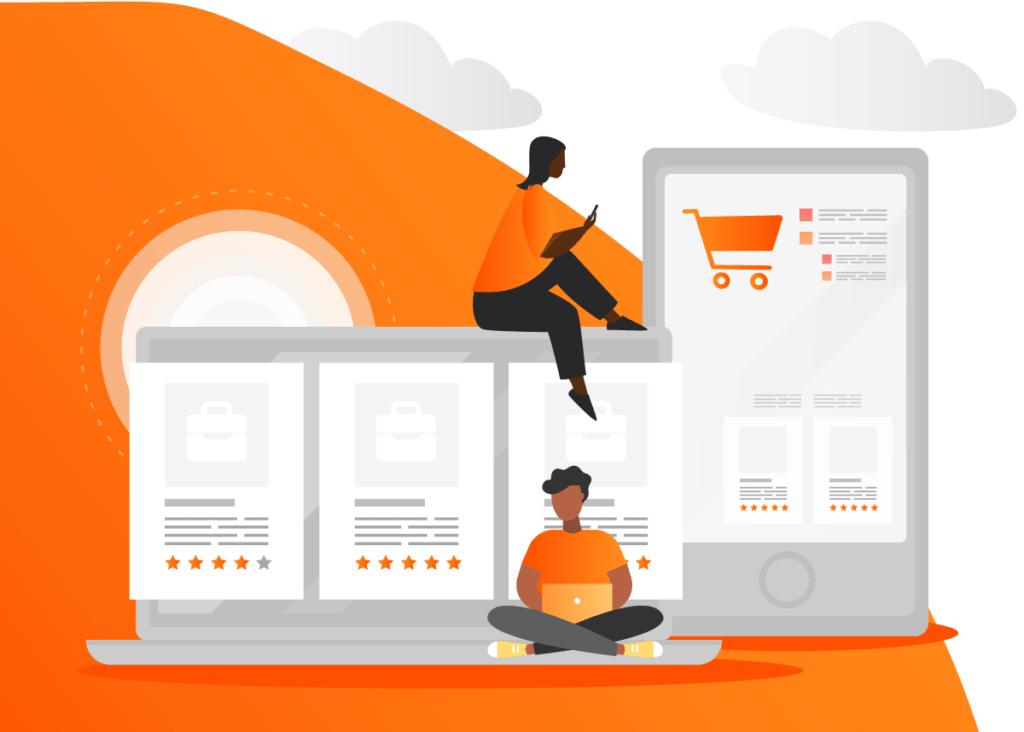 Imagem relacionando aparelhos tecnológicos  sendo utilizados para realizar compras