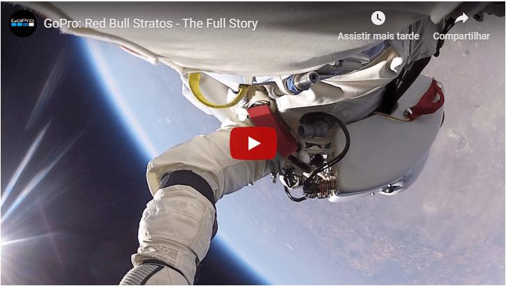 Print de um vídeo do YouTube em que aparece co-marketing entre Red Bull e GoPro. Há o astronauta caindo, na imagem