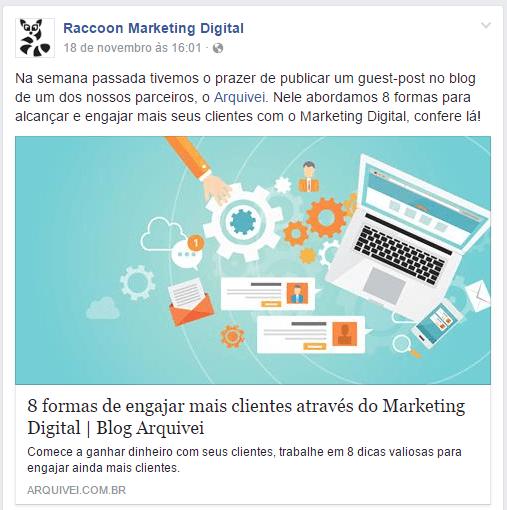 redes sociais - print de um post compartilhado no Faceook da Raccon, em que se fala sobre co-marketing com outra empresa