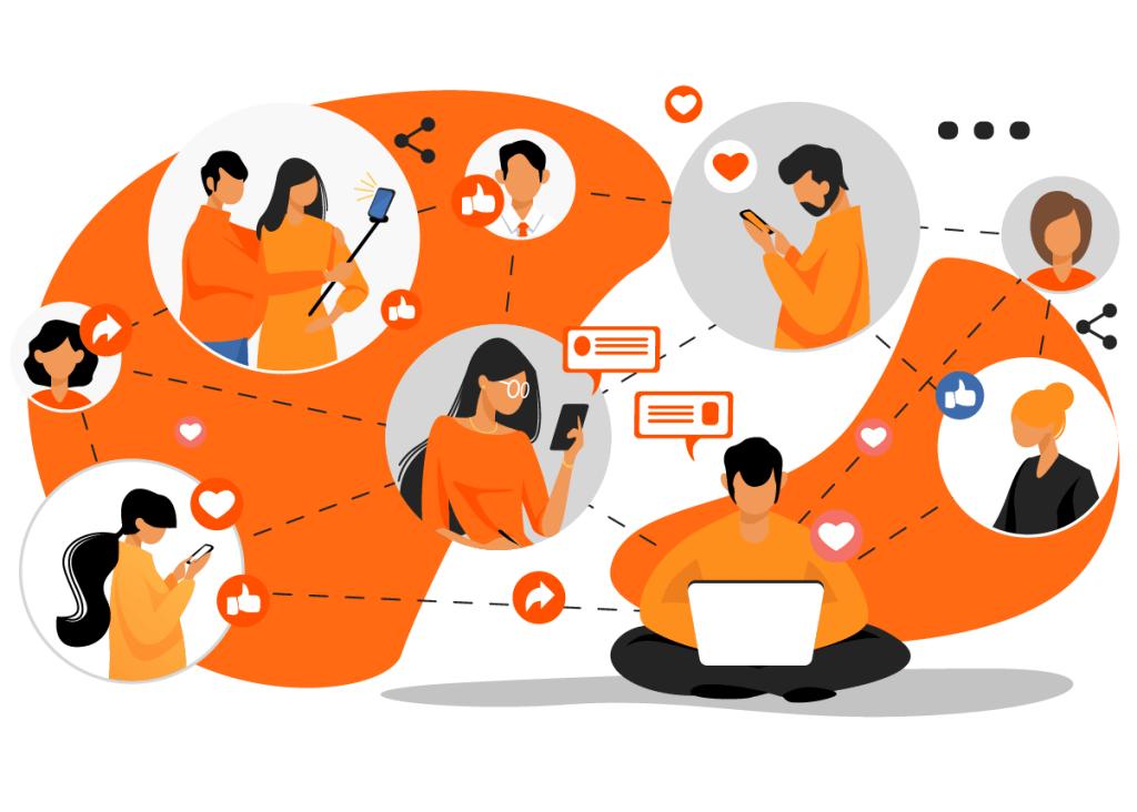 Homem gerenciando uma rede através de um computador, fortalecendo seu networking
