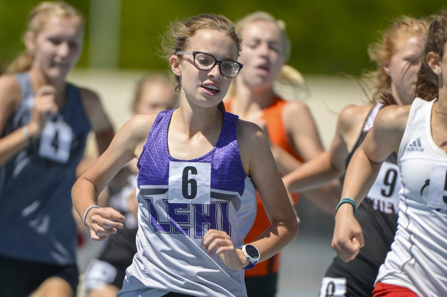 Anna Martin took 1st in the 4A Girls' 3200 Meter,