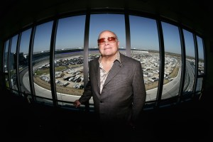 CEO and Chairman of Speedway Motorsports Inc. Bruton Smith poses for a portrait in his condo overlooking the race track during practice for the NASCAR Nextel Cup Series Dickies 500 on November 4, 2005 at Texas Motor Speedway in Ft. Worth, Texas. (Photo by Jonathan Ferrey/Getty Images)