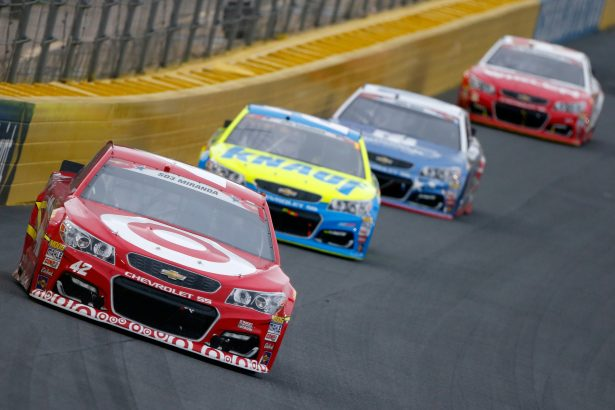 Kyle Larson, driver of the #42 Target Chevrolet, leads a pack of cars during the NASCAR Sprint Cup Series Coca-Cola 600 at Charlotte Motor Speedway on May 29, 2016 in Charlotte, North Carolina. (Photo by Brian Lawdermilk/Getty Images)