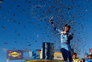 Kevin Harvick, driver of the #4 ditech Chevrolet, celebrates in Victory Lane after winning the NASCAR Sprint Cup Series Bad Boy Off Road 300 at New Hampshire Motor Speedway on September 25, 2016 in Loudon, New Hampshire. (Photo by Jonathan Ferrey/Getty Images)