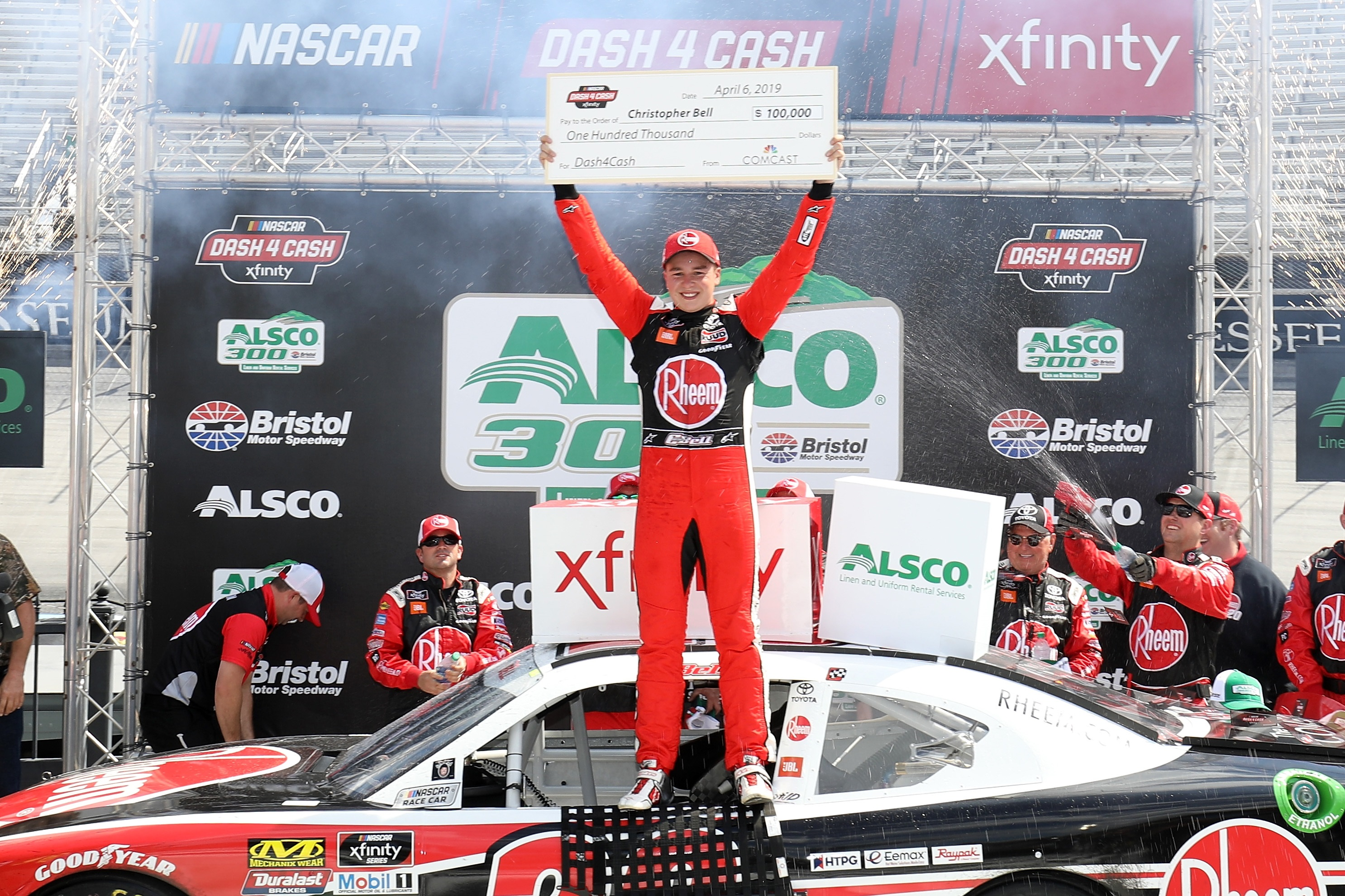 Christopher bell driver of the 20 rheem toyota celebrates in victory lane after winning the nascar xfinity series alsco 300 at bristol motor speedway on