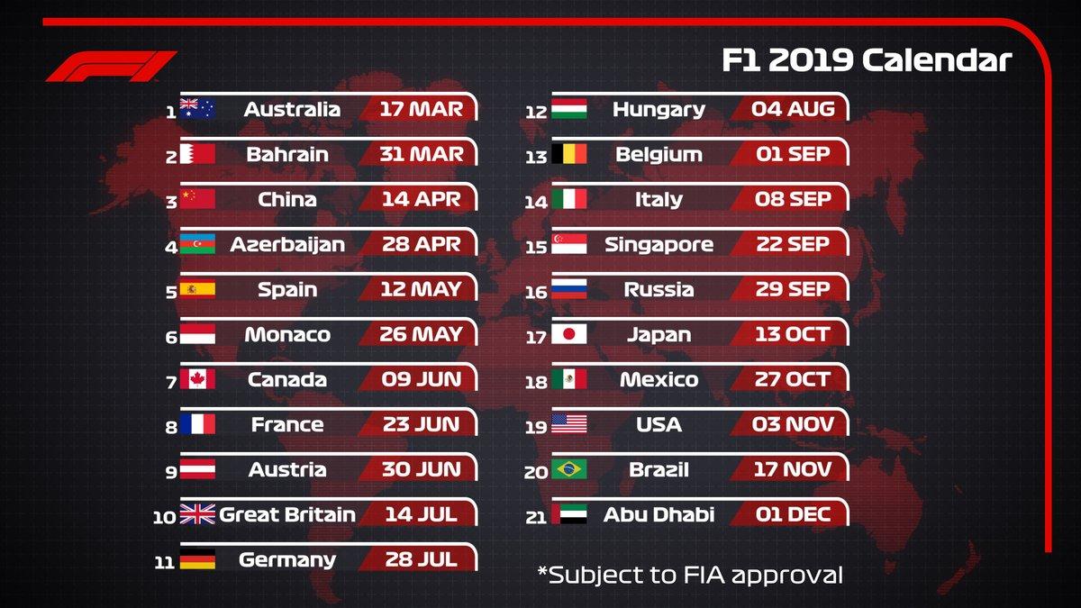 Calendario F.Calendario Da F 1 2019 Ninguem Entra Ninguem Sai E