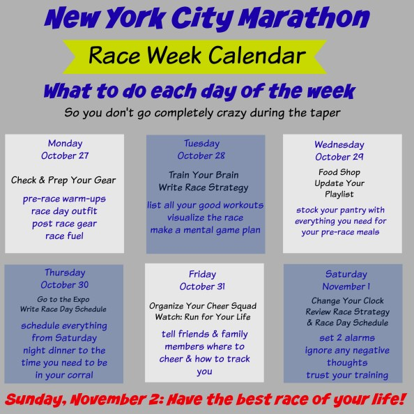 NYCM Race Week To Dos
