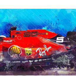 Sebastian Vettel F1 Art - Ferrari 2019