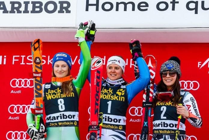 Ana Drev, Viktoria Rebensburg, Tina Weirather sul podio a Maribor in gigante @ZOOM Agence