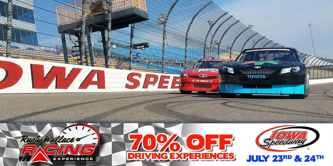70% OFF Race Car Driving Experiences at Iowa Speedway September 17th & 18th!