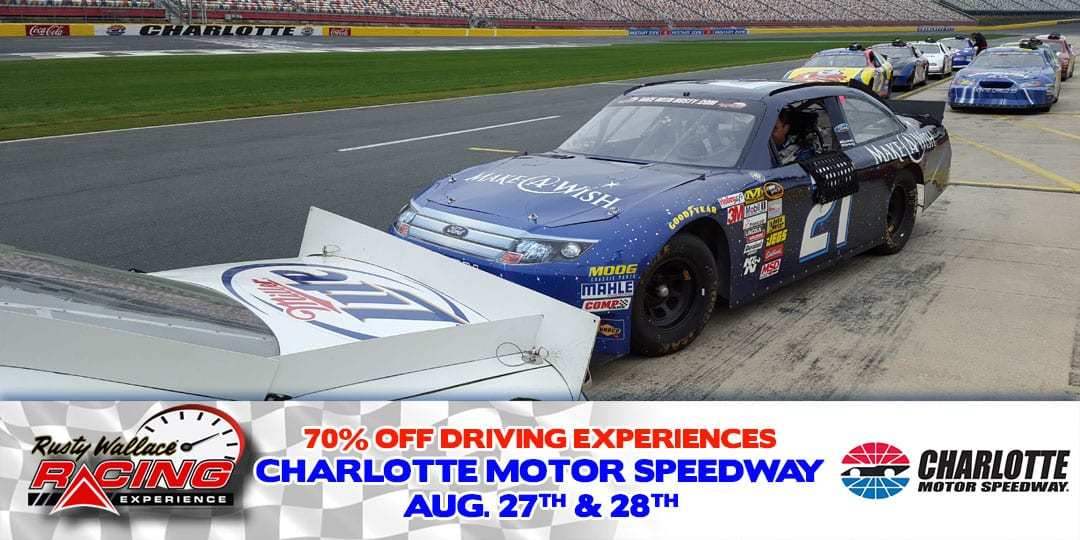 70% OFF Race Car Driving Experiences at Charlotte Motor Speedway August 27th & 28th