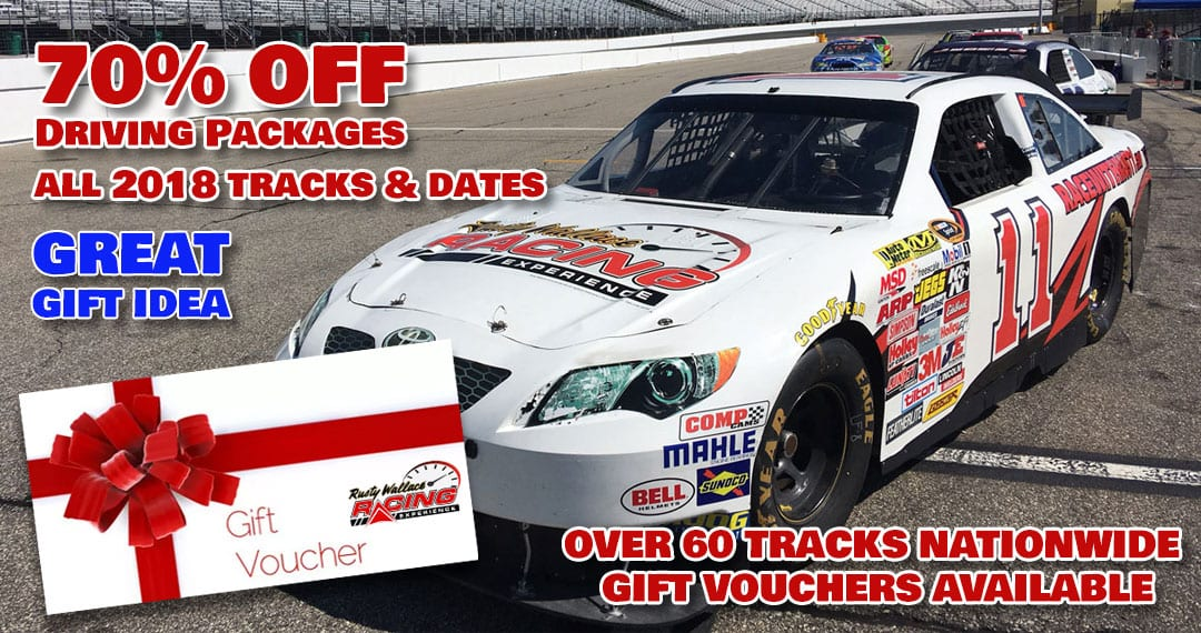 Holiday Deal – Save 70% OFF Speedway Track Driving Experiences!  All Tracks & Dates in 2018!