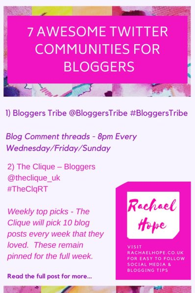 Basically within this post you will find a comprehensive list of  7 AWESOME Twitter Communities for Bloggers.  My aim is to help us both save time and improve the efficiency of our schedules!