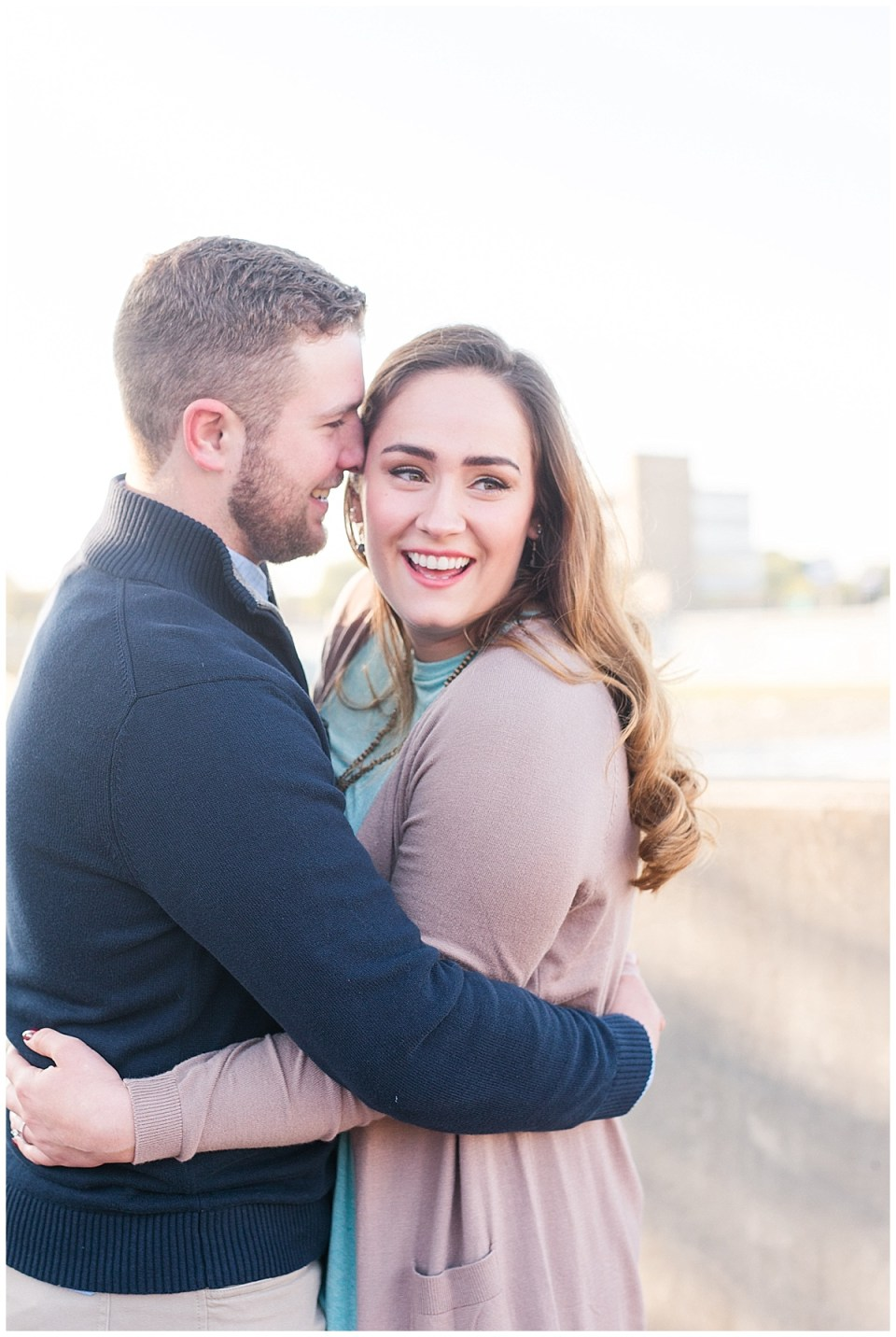 Fall Engagement Pictures with Puppy at Riverscape Park and Eastwood Lake in Dayton, Ohio photographed by Rachael Leigh Photography