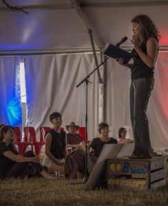Rachael reading at Gorgeous Festival 2014. Photo by Andrew Noble