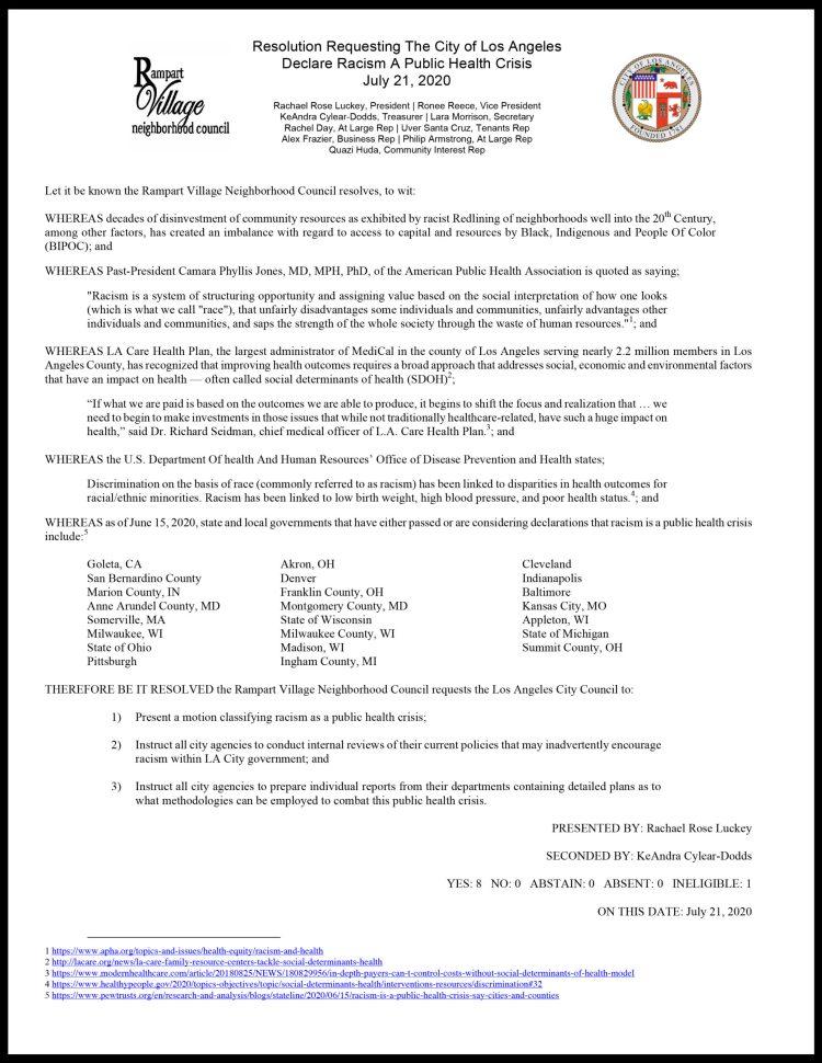 07.08.2020RVNC_ResolutionLA_CitydeclareRacismAsPublicHealthCrisi