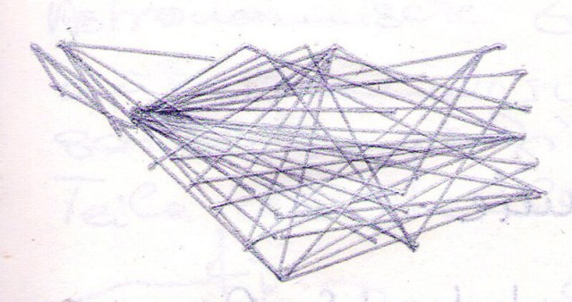 Imprisoned Codes, communication maps, ink on paper by Rachela Abbate