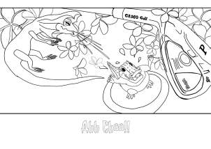 There's a Crocodile on the Golf Course by Rachel Barnett. Colouring Page - Achoo!