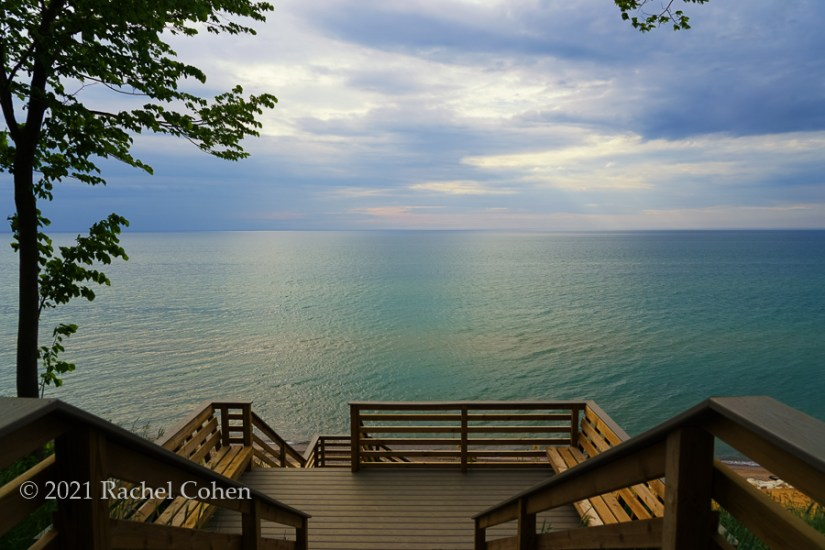 """""""Heading down to the Beach""""  Viewing Lake Michigan from the top of the stairs going down to the beach."""