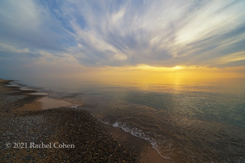 """""""Sublime""""  An other worldly experience with calm water, fog, clouds and sunlight along Lake Michigan!"""