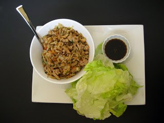 Chicken lettuce wraps ready to be assembled.
