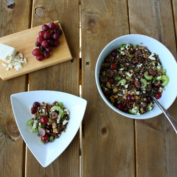 Overhead view of two white bowls of lentils, red grapes, celery, walnuts, and feta cheese on a wooden backdrop.
