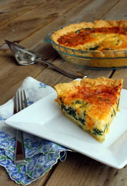 This spinach quiche will have everyone raving over its crunchy cornmeal crust - you might never go back to a regular pie crust. Get the fantastic brunch or breakfast recipe on RachelCooks.com!