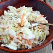 Healthy coleslaw is so easy to make and you won't even notice that it has less calories - it has the same great taste as classic creamy coleslaw! Get the easy recipe on RachelCooks.com!